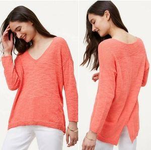 LOFT Coral Pink Vneck Sweater Shirt Split Back Hem